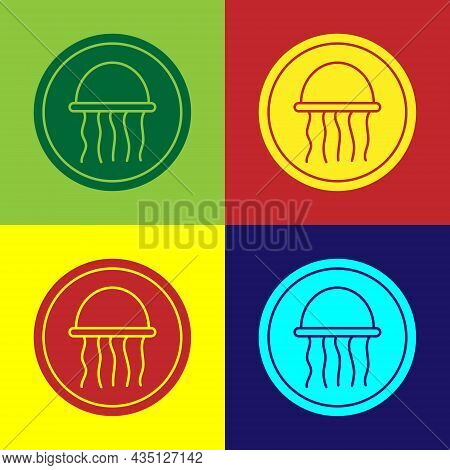 Pop Art Jellyfish On A Plate Icon Isolated On Color Background. Vector.