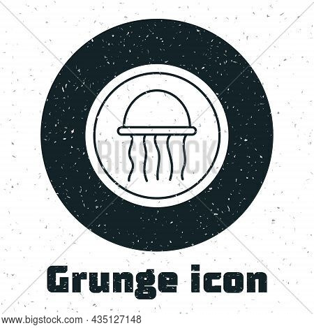 Grunge Jellyfish On A Plate Icon Isolated On White Background. Monochrome Vintage Drawing. Vector.