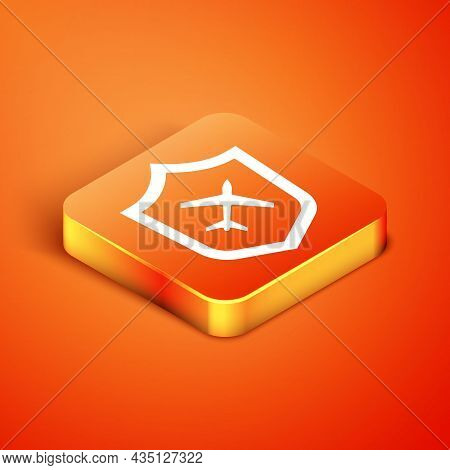 Isometric Plane With Shield Icon Isolated On Orange Background. Flying Airplane. Airliner Insurance.