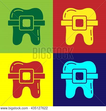 Pop Art Teeth With Braces Icon Isolated On Color Background. Alignment Of Bite Of Teeth, Dental Row