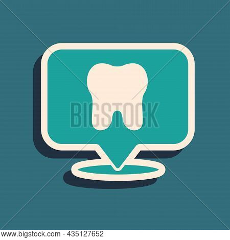 Green Dental Clinic Location Icon Isolated On Green Background. Long Shadow Style. Vector