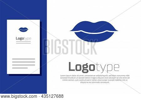 Blue Smiling Lips Icon Isolated On White Background. Smile Symbol. Logo Design Template Element. Vec