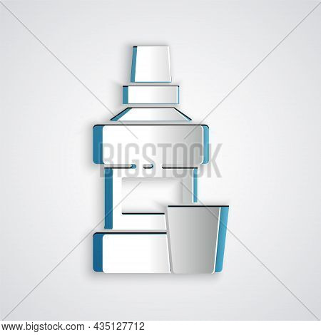Paper Cut Mouthwash Plastic Bottle And Glass Icon Isolated On Grey Background. Liquid For Rinsing Mo