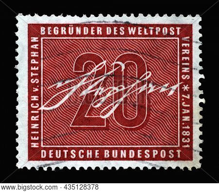 ZAGREB, CROATIA - JUNE 25, 2014: Stamp printed in Germany, shows signature of Ernst Heinrich Wilhelm von Stephan, general post director for the German Empire who reorganized postal service, circa 1956