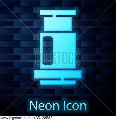 Glowing Neon Aeropress Coffee Method Icon Isolated On Brick Wall Background. Device For Brewing Coff