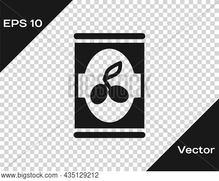 Black Olives In Can Icon Isolated On Transparent Background. Concept Of Canned Food. Vector
