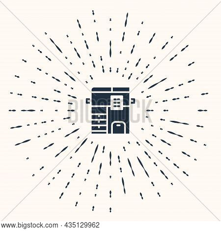 Grey Office Multifunction Printer Copy Machine Icon Isolated On Beige Background. Abstract Circle Ra