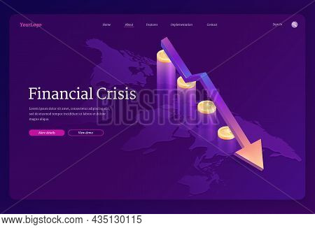 Financial Crisis Isometric Landing Page. Decline Arrow Chart At Coins And World Map. Stock Market Ec