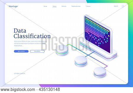 Data Classification Isometric Landing Page, System Of Electronic Database For Corporate Business. Mo
