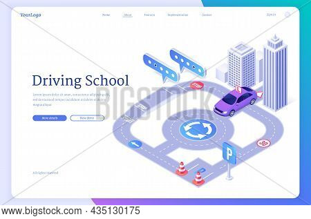 Driving School Isometric Landing Page, Student Driver Pass Exam On Training Car At City Road With Tr