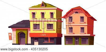 Retro Buildings, Town Or City Vintage House Architecture With Cafe And Store Showcase On Ground Floo