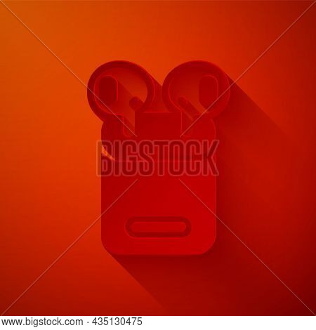 Paper Cut Air Headphones In Box Icon Isolated On Red Background. Holder Wireless In Case Earphones G