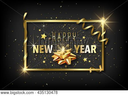Luxury Happy New Year Greeting Card With Golden Decoration On Black Background - Abstract Illustrati