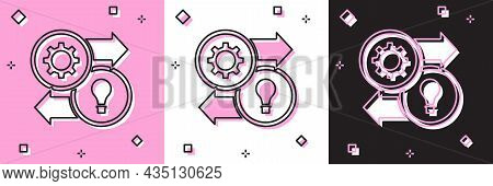 Set Human Resources Icon Isolated On Pink And White, Black Background. Concept Of Human Resources Ma