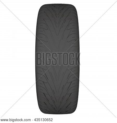 Car Wheel Tire Isolated On White Background. 3d. Vector Illustration