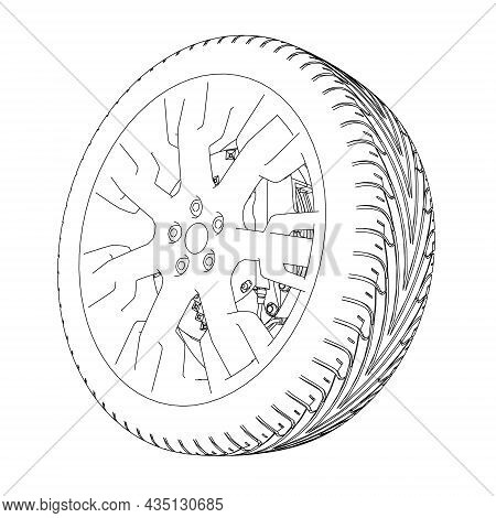 Car Wheel Contour From Black Lines Isolated On White Background. 3d. Vector Illustration