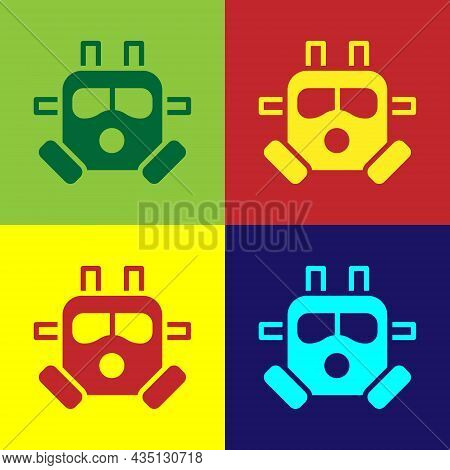 Pop Art Gas Mask Icon Isolated On Color Background. Respirator Sign. Vector