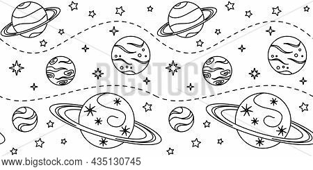 Black Outline Different Planets And Stars On A White Background. Space Endless Texture. Deep Space.