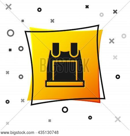 Black Bulletproof Vest For Protection From Bullets Icon Isolated On White Background. Body Armor Sig