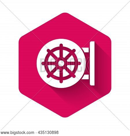 White Dharma Wheel Icon Isolated With Long Shadow Background. Buddhism Religion Sign. Dharmachakra S