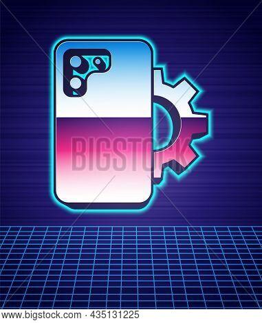 Retro Style Phone Repair Service Icon Isolated Futuristic Landscape Background. Adjusting, Service,