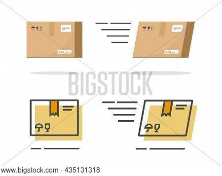 Parcel Package Paper Icon Vector Isolated And Carton Cargo Box Fast Delivery Flat Cartoon And Line O
