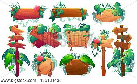 Wooden Signboards In Jungle, Plank And Pointers With Green Leaves And Lianas. Vector Cartoon Set Of