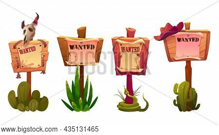Wanted Signs Or Banners, Wild West Announcement On Parchment Hang On Wooden Board With Cowboy Hat, A