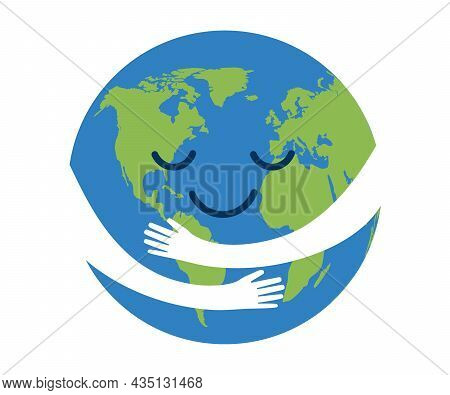 Planet Earth In Hand Protection, Care In Hug. Save Ecological Environment. Nature Conservation Care