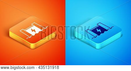 Isometric Hydroelectric Dam Icon Isolated On Orange And Blue Background. Water Energy Plant. Hydropo