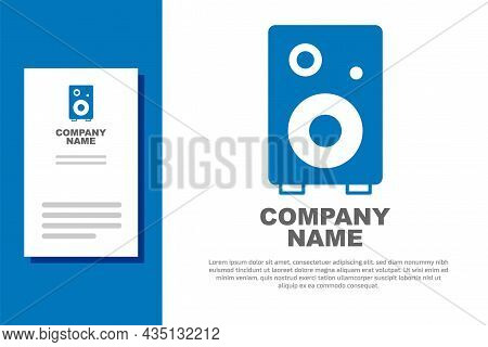 Blue Stereo Speaker Icon Isolated On White Background. Sound System Speakers. Music Icon. Musical Co