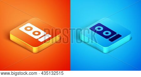 Isometric Stereo Speaker Icon Isolated On Orange And Blue Background. Sound System Speakers. Music I