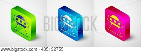 Isometric Ufo Flying Spaceship Icon Isolated On Grey Background. Flying Saucer. Alien Space Ship. Fu