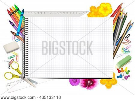 Concept Back To School With Notepad And School Supplies - Background Illustration For Your Commercia