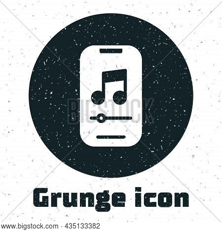 Grunge Music Player Icon Isolated On White Background. Portable Music Device. Monochrome Vintage Dra