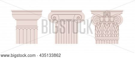 Doric, Ionic And Corinthian Types Of Column Capitals. Set Of Roman And Greek Orders Of Pillar Tops.