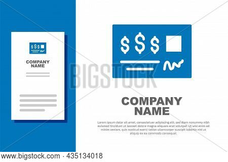 Blue Blank Template Of The Bank Check And Pen Icon Isolated On White Background. Checkbook Cheque Pa