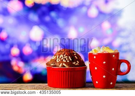 Hot Chocolate With Marshmallows For Christmas With Sweets. Cupcake With Cocoa And Marshmallows For T