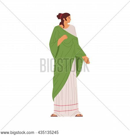 Roman Woman Dressed In Tunic. Female Wearing Ancient Fashion Clothing. Person In Plebeian Costume. L