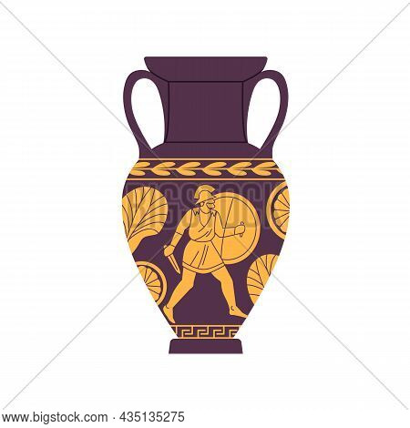 Ancient Roman Amphora. Antique Vase Of Old Rome. Pottery With Handles And Ornament. Historical Vinta