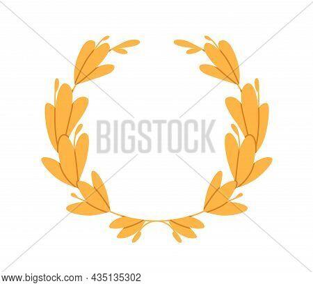 Roman Laurel Wreath From Laurus Leaf. Circle Award For Winners. Gold Symbol Of Victory. Circular Lau