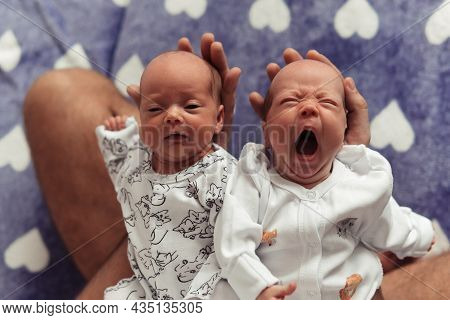 Close-up Portrait Of Newborn Twins Laying By Heads In Fathers Hands. Yawning Newborn Girl. Cute And