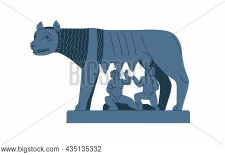 Capitoline Wolf With Twins, Ancient Roman Sculpture. Rome Statue With Remus And Romulus. Antique Ita