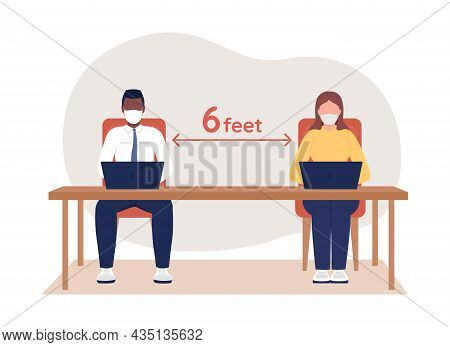 Office Employee At Safe Social Distance 2d Vector Isolated Illustration. People In Respiratory Facia