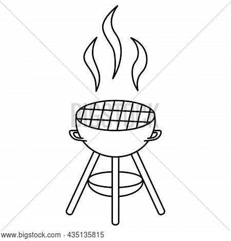 Barbecue Grill. Sketch. Steam Is Emitted From The Heated Grate. Large Cauldron With Handles And Legs