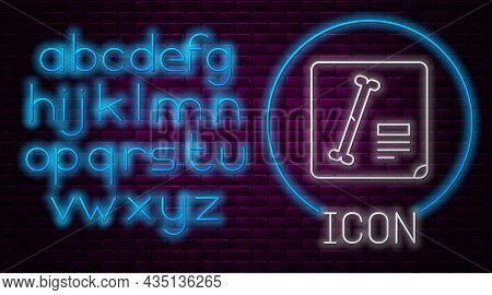 Glowing Neon Line X-ray Shots Icon Isolated On Brick Wall Background. Neon Light Alphabet. Vector Il
