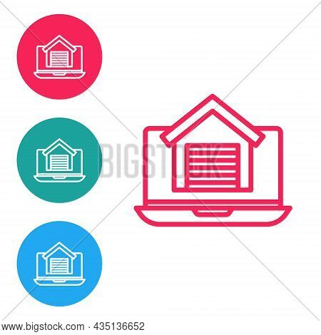 Red Line Online Real Estate House On Laptop Icon Isolated On White Background. Home Loan Concept, Re
