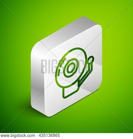 Isometric Line Ringing Alarm Bell Icon Isolated On Green Background. Alarm Symbol, Service Bell, Han