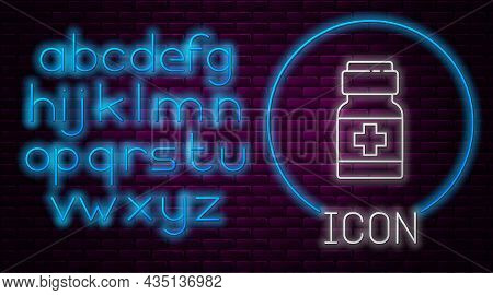 Glowing Neon Line Medicine Bottle And Pills Icon Isolated On Brick Wall Background. Medical Drug Pac