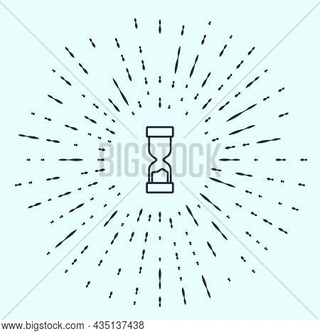 Black Line Old Hourglass With Flowing Sand Icon Isolated On Grey Background. Sand Clock Sign. Busine